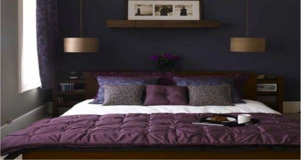 Purple-Bed-Cover-Classic-Pendant-Lamp-Dark-Blue-Paint-Colors-For-Small-Bedrooms