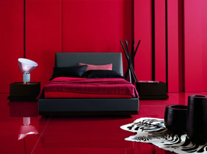 red and black bedroom, bedroom, colourful design