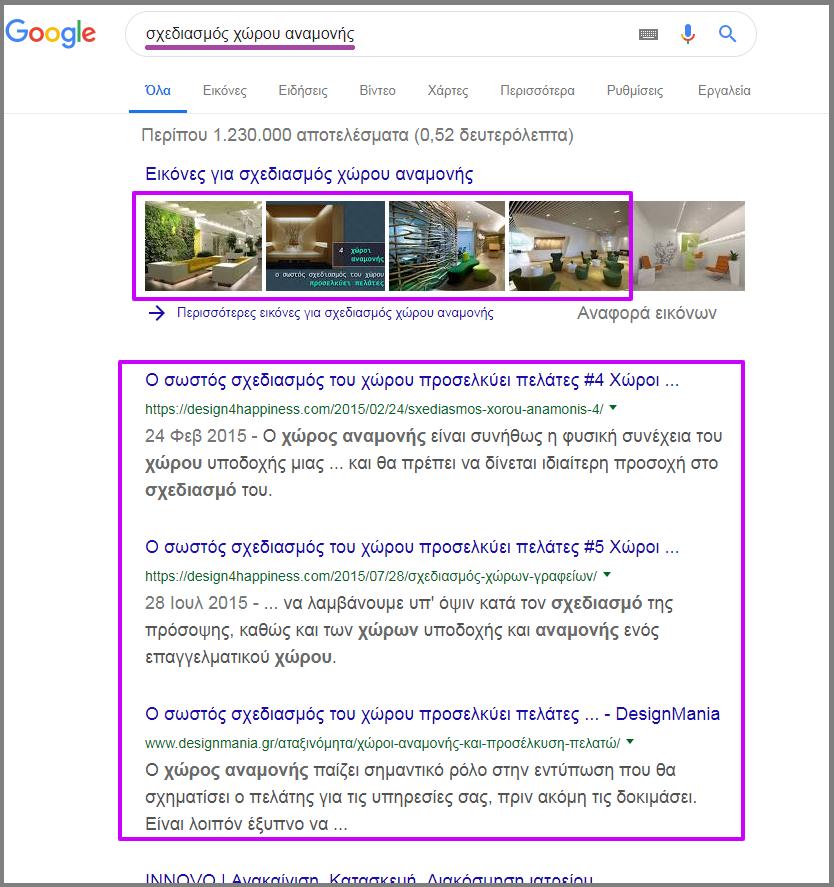 σχεδιασμός χώρου αναμονής Αναζήτηση Google